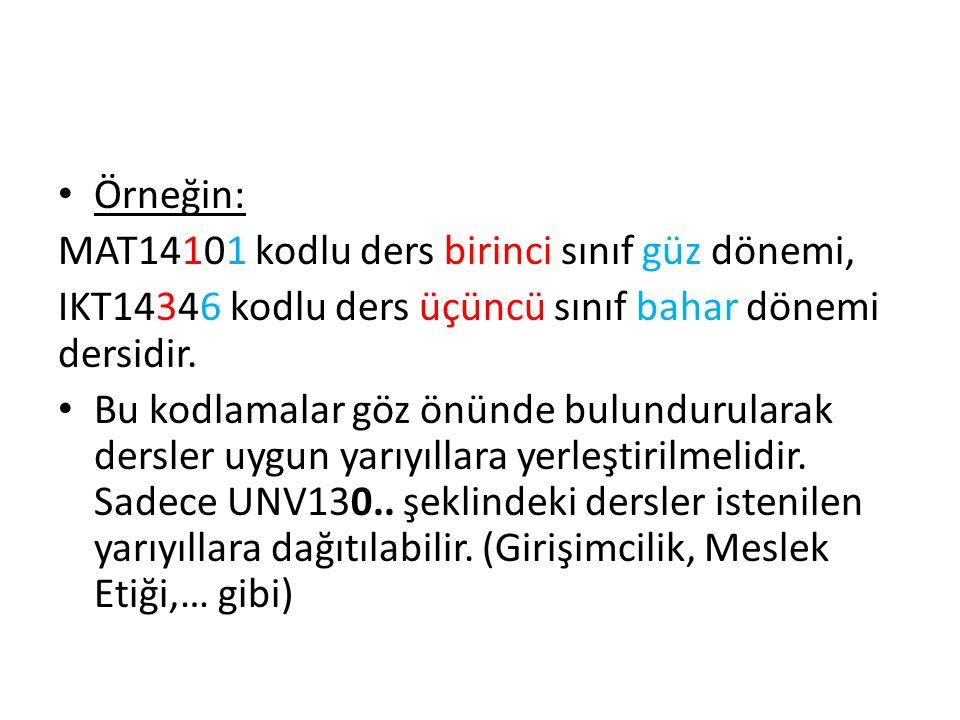 Örneğin: MAT14101 kodlu ders birinci sınıf güz dönemi, IKT14346 kodlu ders üçüncü sınıf bahar dönemi dersidir.