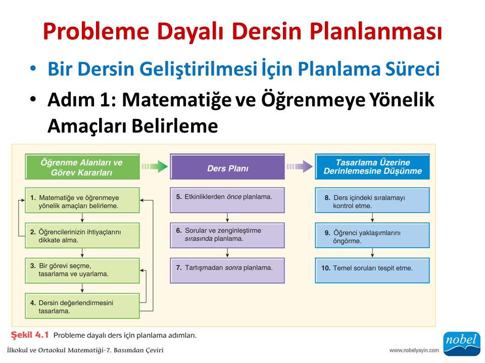 Probleme Dayalı Dersin Planlanması Bir Dersin Geliştirilmesi İçin Planlama Süreci Adım 1: Matematiğe ve Öğrenmeye Yönelik Amaçları Belirleme