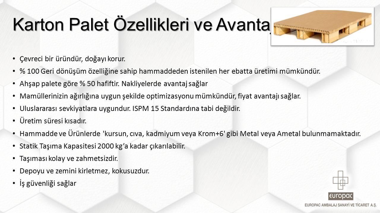 Karton Palet Özellikleri ve Avantajları Çevreci bir üründür, doğayı korur.