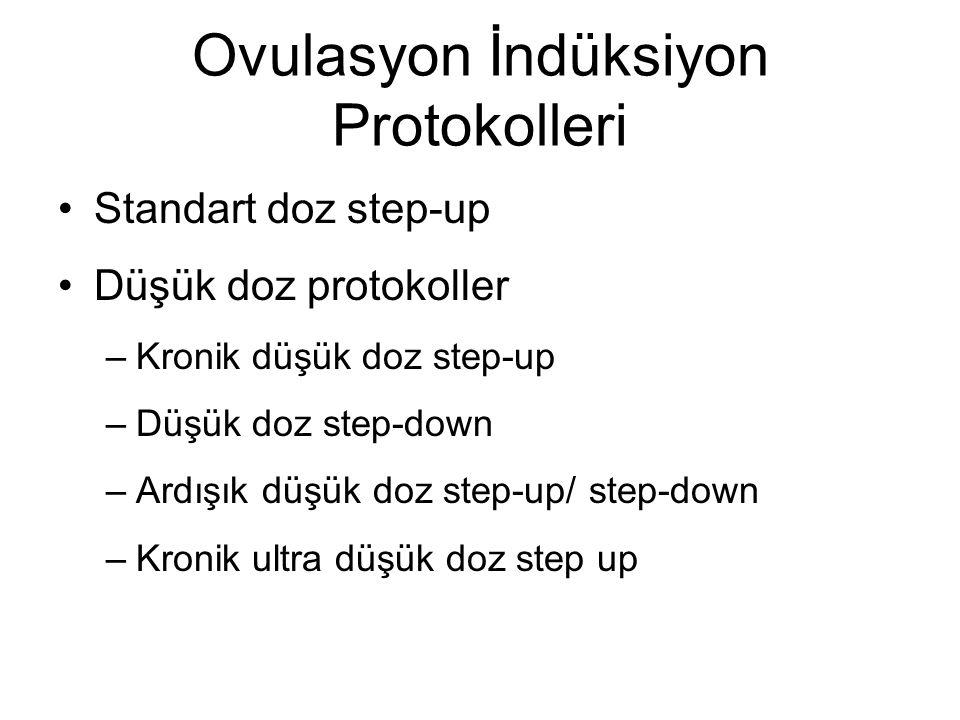 Ovulasyon İndüksiyon Protokolleri Standart doz step-up Düşük doz protokoller –Kronik düşük doz step-up –Düşük doz step-down –Ardışık düşük doz step-up/ step-down –Kronik ultra düşük doz step up