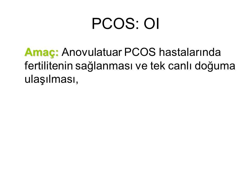 PCOS: OI Amaç: Amaç: Anovulatuar PCOS hastalarında fertilitenin sağlanması ve tek canlı doğuma ulaşılması,