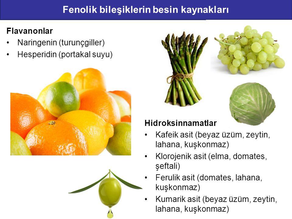 Fenolik bileşiklerin besin kaynakları Flavanonlar Naringenin (turunçgiller) Hesperidin (portakal suyu) Hidroksinnamatlar Kafeik asit (beyaz üzüm, zeyt
