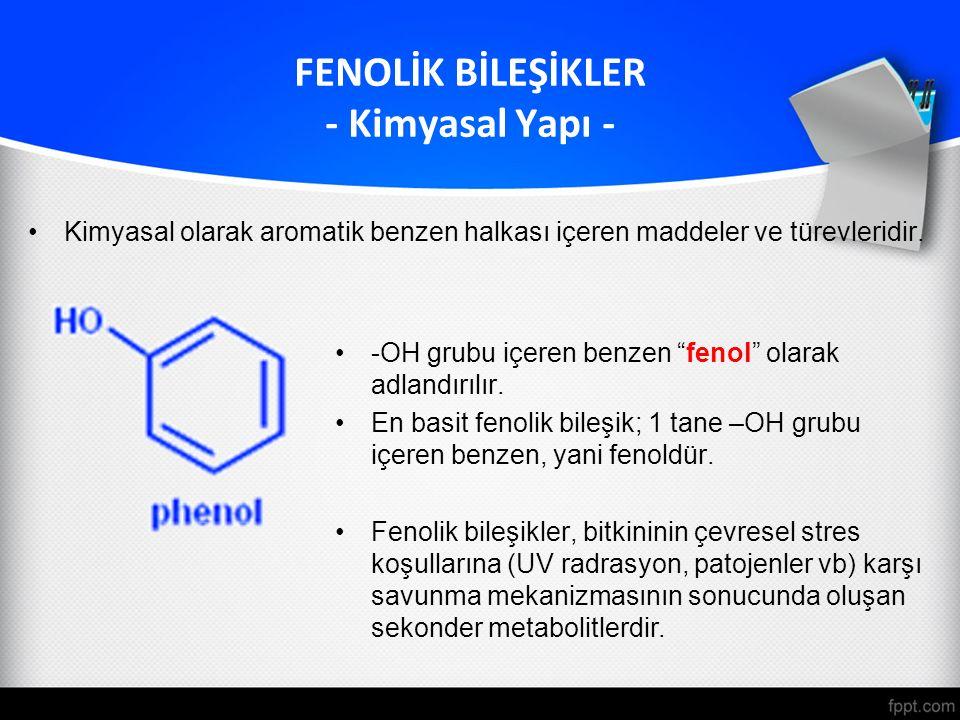 """Kimyasal olarak aromatik benzen halkası içeren maddeler ve türevleridir. FENOLİK BİLEŞİKLER - Kimyasal Yapı - -OH grubu içeren benzen """"fenol"""" olarak a"""