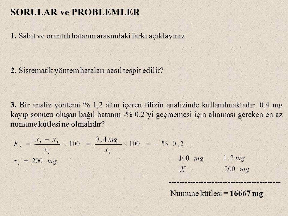 SORULAR ve PROBLEMLER 1.Sabit ve orantılı hatanın arasındaki farkı açıklayınız.