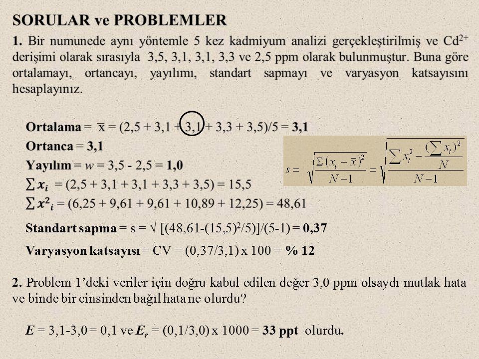 Standart sapma = s = √ [(48,61-(15,5) 2 /5)]/(5-1) = 0,37 Varyasyon katsayısı = CV = (0,37/3,1) x 100 = % 12 2.