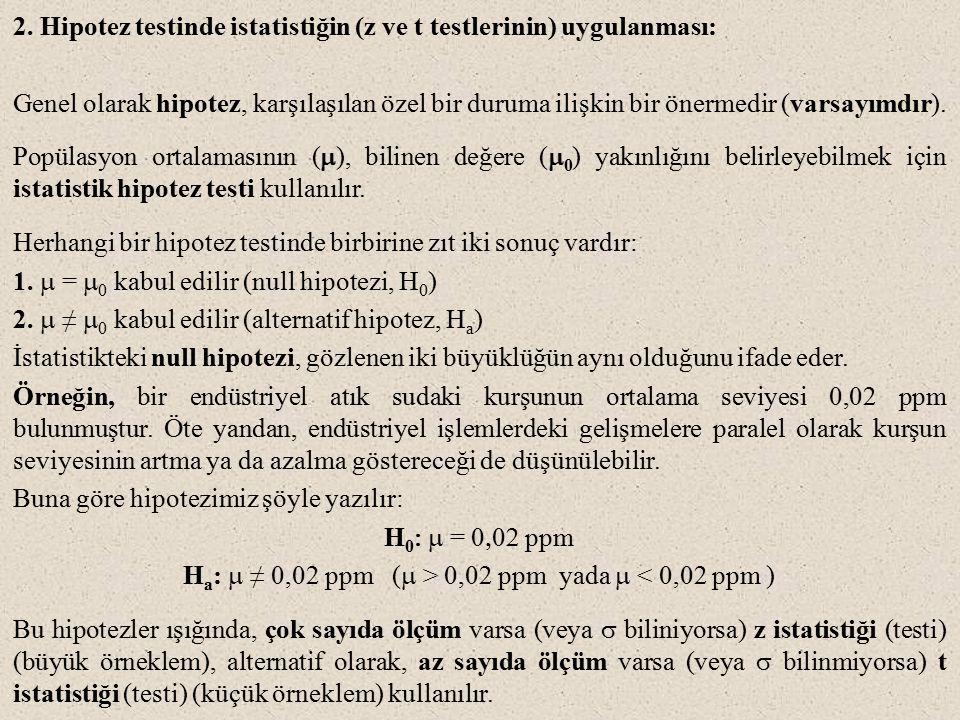 2. Hipotez testinde istatistiğin (z ve t testlerinin) uygulanması: Genel olarak hipotez, karşılaşılan özel bir duruma ilişkin bir önermedir (varsayımd