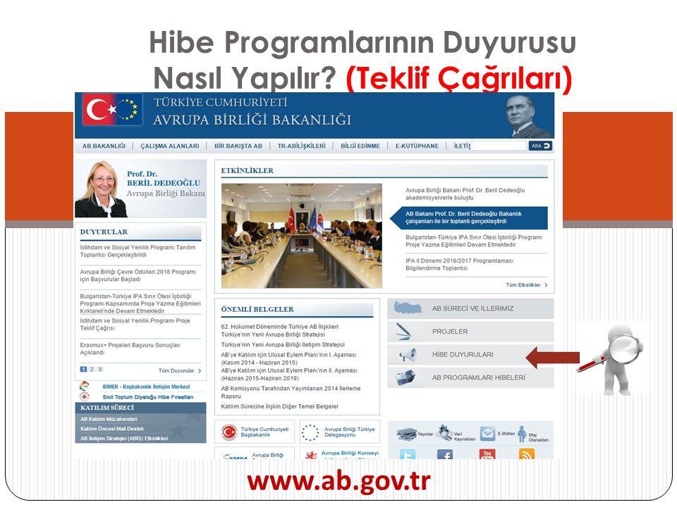 Hibe Programlarının Duyurusu Nasıl Yapılır? (Teklif Çağrıları) www.ab.gov.tr