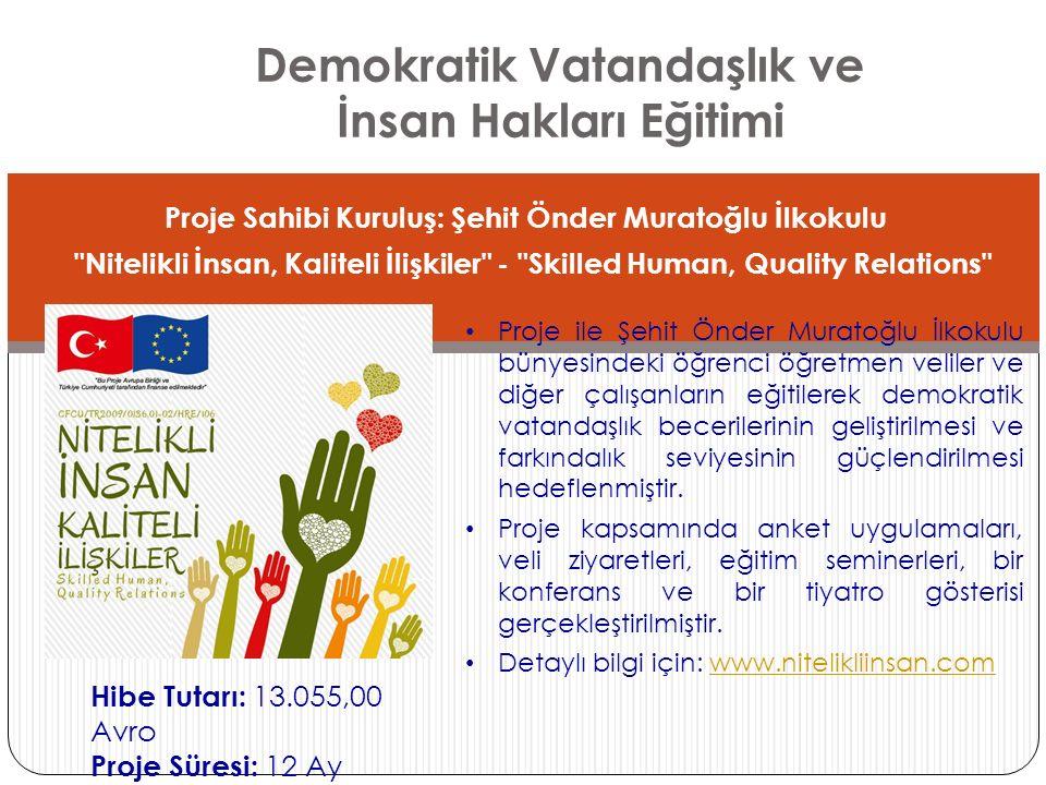 Demokratik Vatandaşlık ve İnsan Hakları Eğitimi Proje Sahibi Kuruluş: Şehit Önder Muratoğlu İlkokulu
