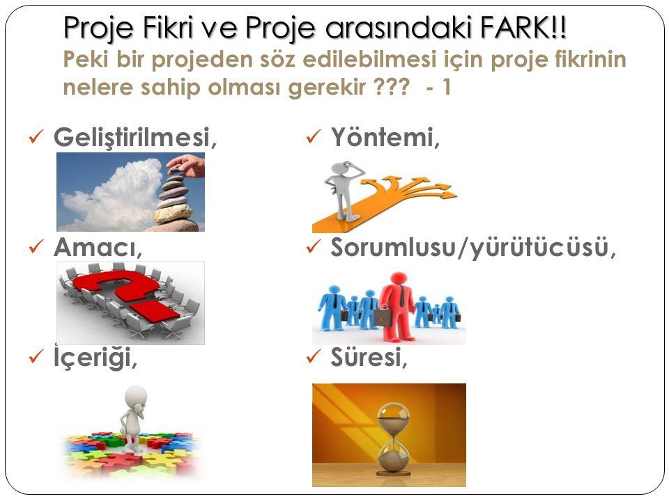 Proje Fikri ve Proje arasındaki FARK!! Proje Fikri ve Proje arasındaki FARK!! Peki bir projeden söz edilebilmesi için proje fikrinin nelere sahip olma