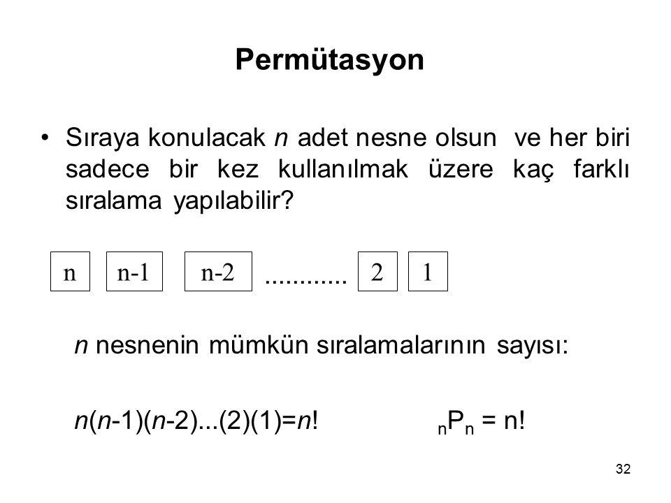 32 Permütasyon Sıraya konulacak n adet nesne olsun ve her biri sadece bir kez kullanılmak üzere kaç farklı sıralama yapılabilir?............