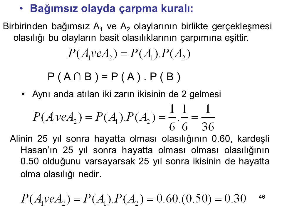 46 Bağımsız olayda çarpma kuralı: Birbirinden bağımsız A 1 ve A 2 olaylarının birlikte gerçekleşmesi olasılığı bu olayların basit olasılıklarının çarpımına eşittir.