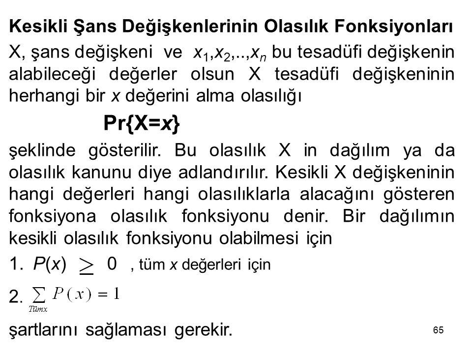 65 Kesikli Şans Değişkenlerinin Olasılık Fonksiyonları X, şans değişkeni ve x 1,x 2,..,x n bu tesadüfi değişkenin alabileceği değerler olsun X tesadüfi değişkeninin herhangi bir x değerini alma olasılığı Pr{X=x} şeklinde gösterilir.
