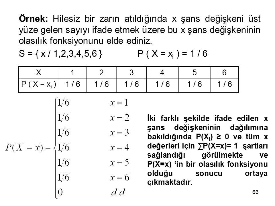 66 Örnek: Hilesiz bir zarın atıldığında x şans değişkeni üst yüze gelen sayıyı ifade etmek üzere bu x şans değişkeninin olasılık fonksiyonunu elde ediniz.
