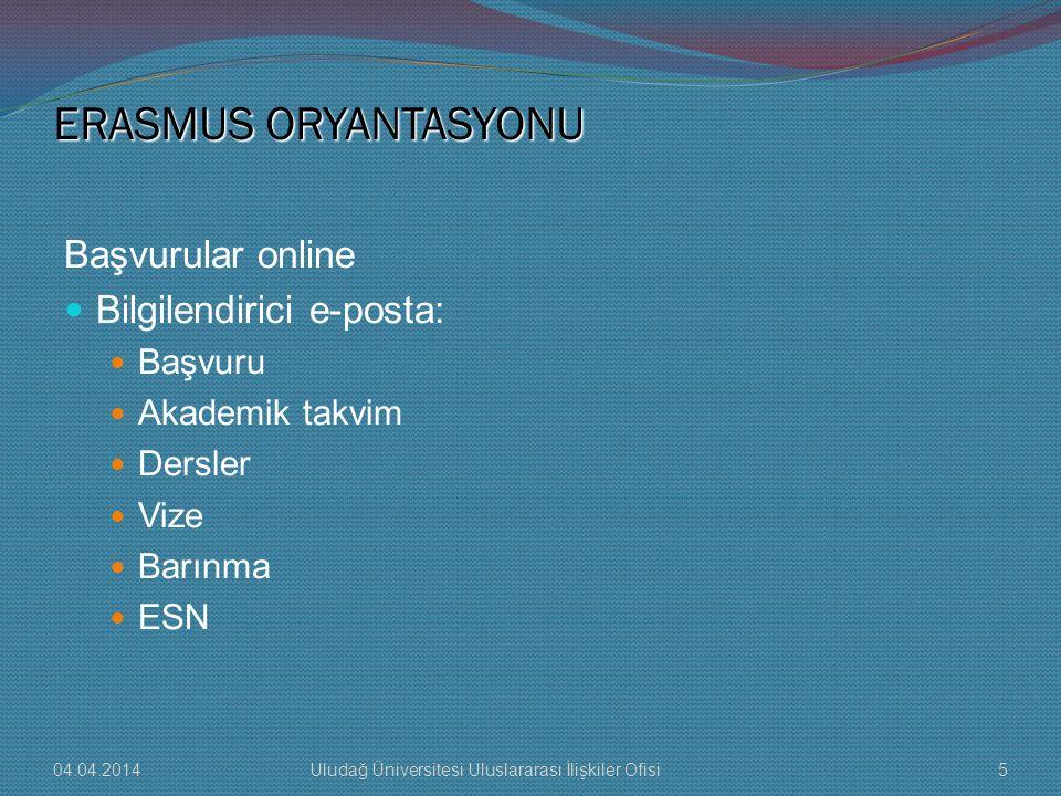 ERASMUS ORYANTASYONU Başvurular online Bilgilendirici e-posta: Başvuru Akademik takvim Dersler Vize Barınma ESN 04.04.20145Uludağ Üniversitesi Uluslar