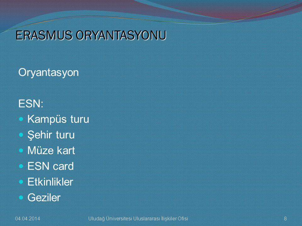 ERASMUS ORYANTASYONU Oryantasyon ESN: Kampüs turu Şehir turu Müze kart ESN card Etkinlikler Geziler 04.04.20148Uludağ Üniversitesi Uluslararası İlişki