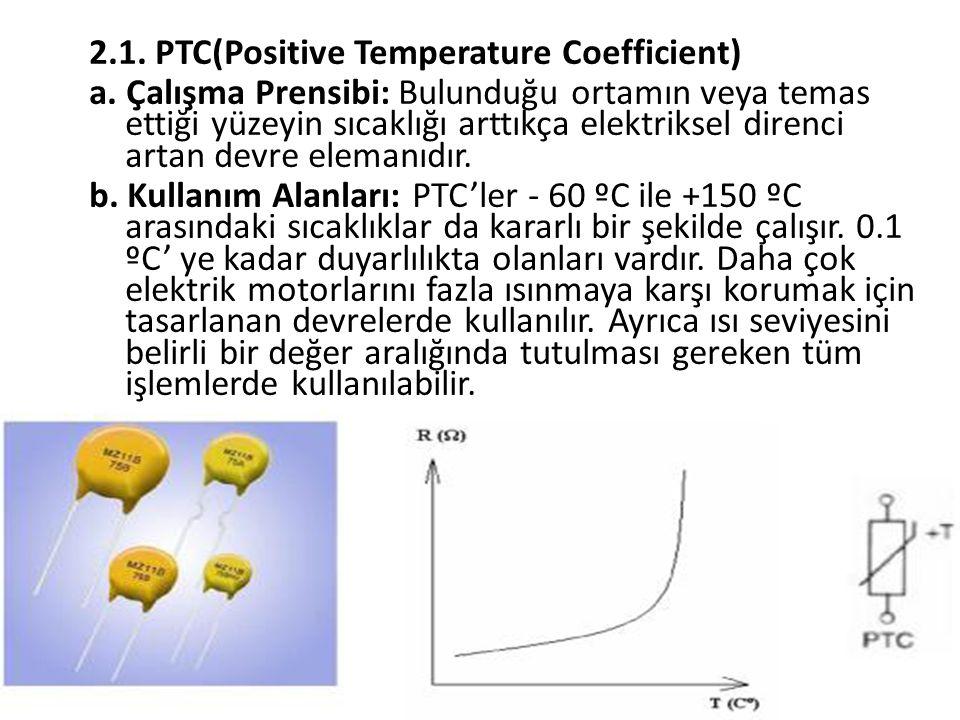 2.1. PTC(Positive Temperature Coefficient) a. Çalışma Prensibi: Bulunduğu ortamın veya temas ettiği yüzeyin sıcaklığı arttıkça elektriksel direnci art