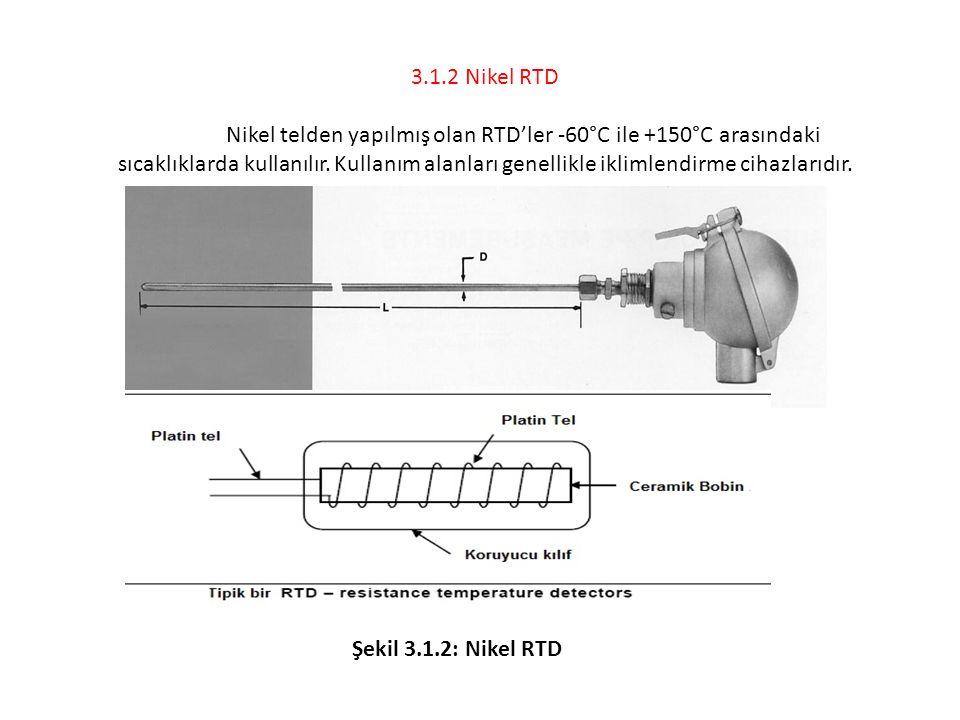 3.1.2 Nikel RTD Nikel telden yapılmış olan RTD'ler -60°C ile +150°C arasındaki sıcaklıklarda kullanılır. Kullanım alanları genellikle iklimlendirme ci
