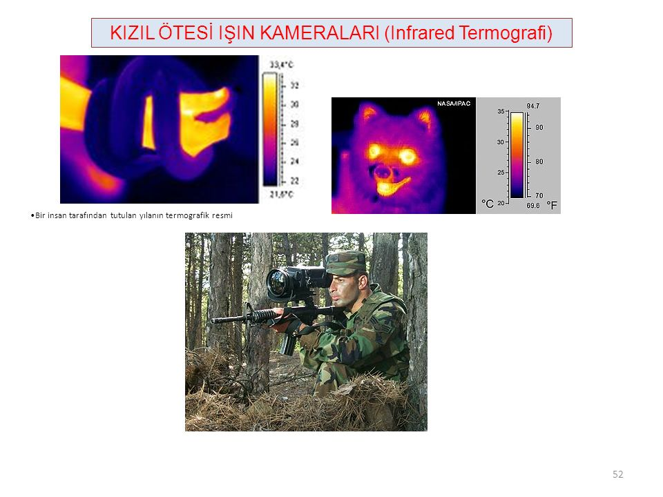 KIZIL ÖTESİ IŞIN KAMERALARI (Infrared Termografi) Bir insan tarafından tutulan yılanın termografik resmi 52