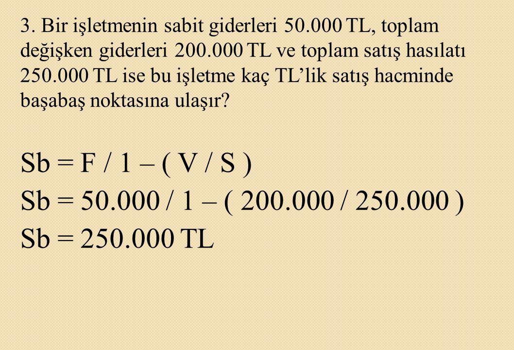 3. Bir işletmenin sabit giderleri 50.000 TL, toplam değişken giderleri 200.000 TL ve toplam satış hasılatı 250.000 TL ise bu işletme kaç TL'lik satış