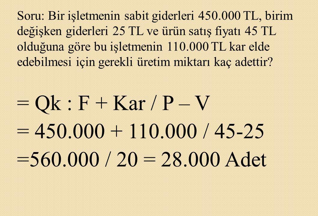 Soru: Bir işletmenin sabit giderleri 450.000 TL, birim değişken giderleri 25 TL ve ürün satış fiyatı 45 TL olduğuna göre bu işletmenin 110.000 TL kar