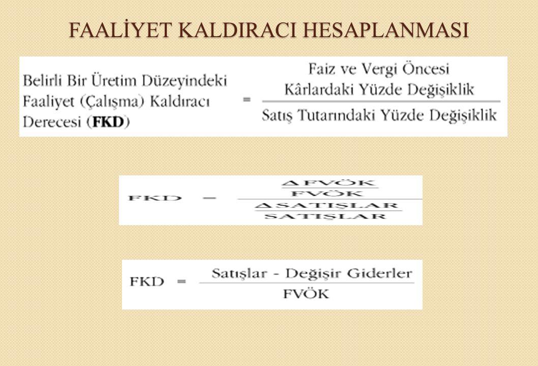 FAALİYET KALDIRACI HESAPLANMASI