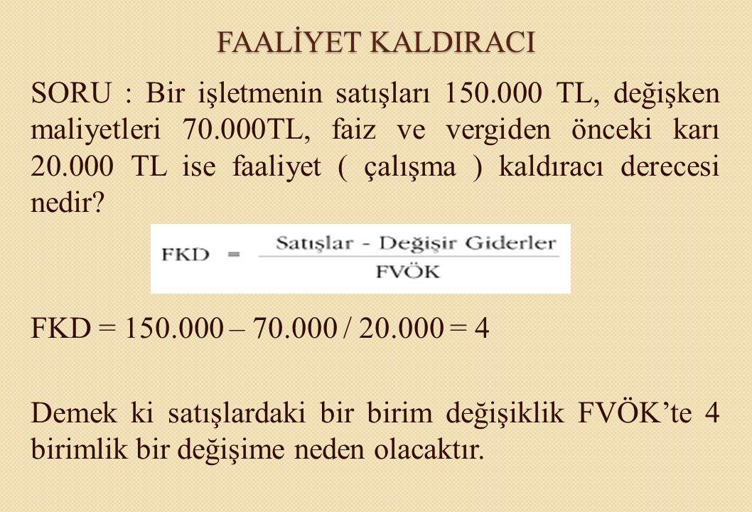 FAALİYET KALDIRACI SORU : Bir işletmenin satışları 150.000 TL, değişken maliyetleri 70.000TL, faiz ve vergiden önceki karı 20.000 TL ise faaliyet ( ça