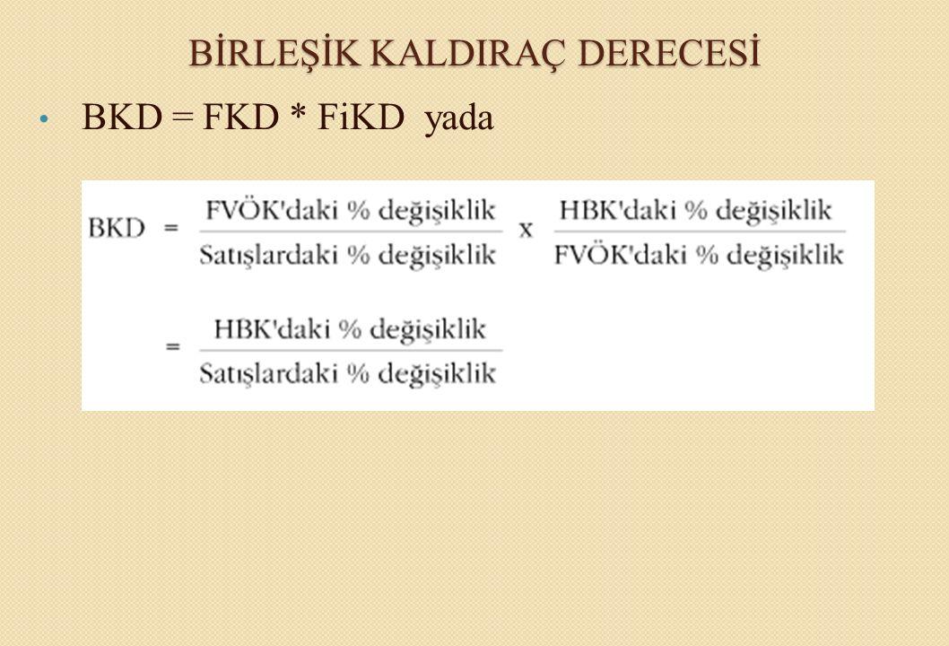 BİRLEŞİK KALDIRAÇ DERECESİ BKD = FKD * FiKD yada