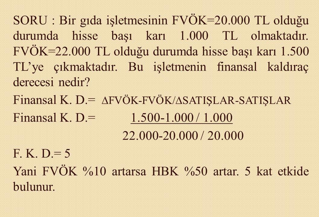 SORU : Bir gıda işletmesinin FVÖK=20.000 TL olduğu durumda hisse başı karı 1.000 TL olmaktadır. FVÖK=22.000 TL olduğu durumda hisse başı karı 1.500 TL
