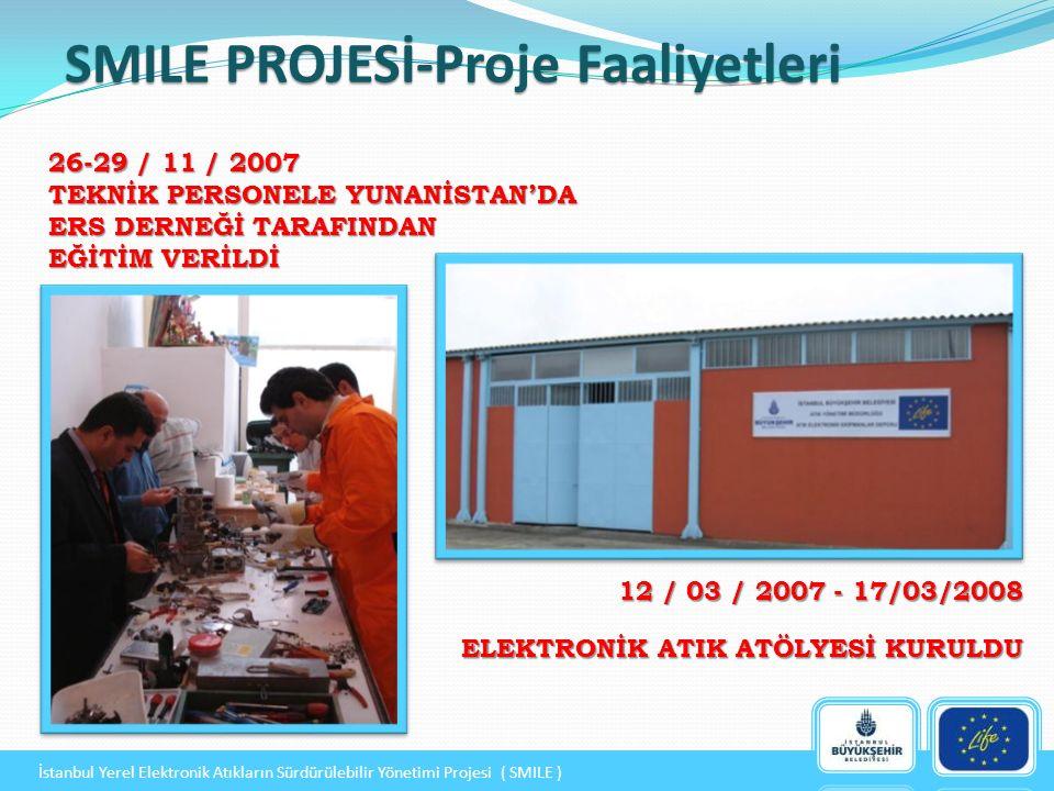 17/ 03 / 2008 ATÖLYEYE TAMİR VE BAKIM İÇİN GEREKLİ EKİPMANLAR TEMİN EDİLDİ 12 / 05 / 2008 PROJE BAŞLANGIÇ KONFERANSI DÜZENLENDİ SMILE PROJESİ-Proje Faaliyetleri İstanbul Yerel Elektronik Atıkların Sürdürülebilir Yönetimi Projesi ( SMILE )