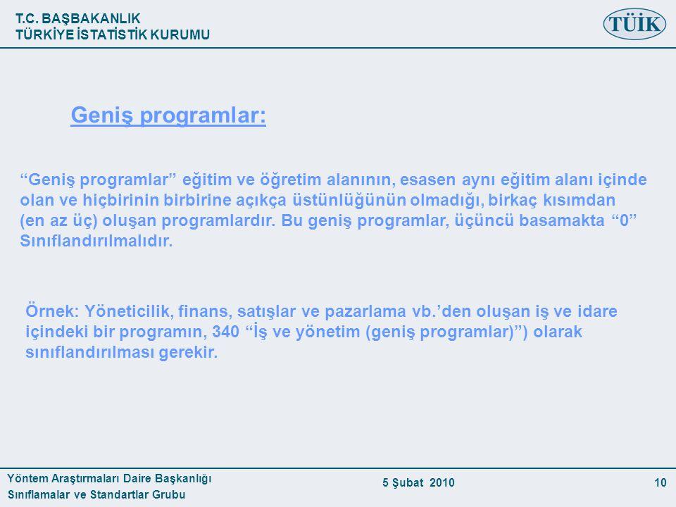 """T.C. BAŞBAKANLIK TÜRKİYE İSTATİSTİK KURUMU Yöntem Araştırmaları Daire Başkanlığı Sınıflamalar ve Standartlar Grubu 5 Şubat 201010 Geniş programlar: """"G"""