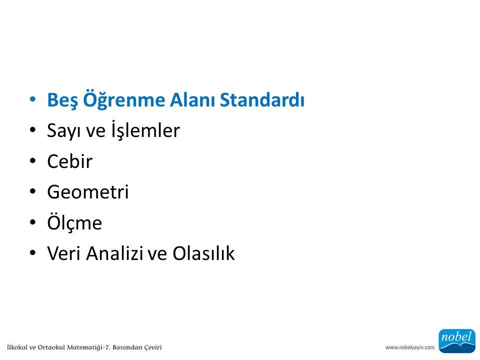 Beş Öğrenme Alanı Standardı Sayı ve İşlemler Cebir Geometri Ölçme Veri Analizi ve Olasılık