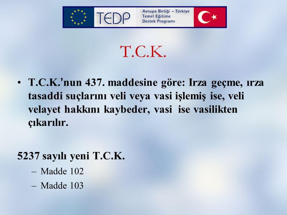 T.C.K. T.C.K. ' nun 437. maddesine göre: Irza geçme, ırza tasaddi suçlarını veli veya vasi işlemiş ise, veli velayet hakkını kaybeder, vasi ise vasili