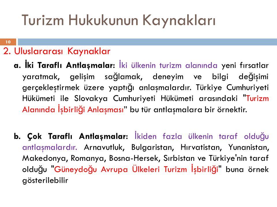Turizm Hukukunun Kaynakları 2. Uluslararası Kaynaklar a. İ ki Taraflı Antlaşmalar: İ ki ülkenin turizm alanında yeni fırsatlar yaratmak, gelişim sa ğ