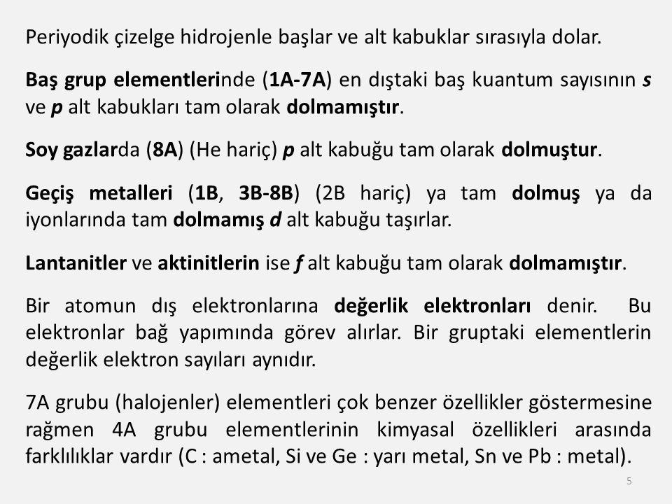 6 Elementlerin periyodik cetvelde alt kabuklarının dolmasına göre sınıflandırılması