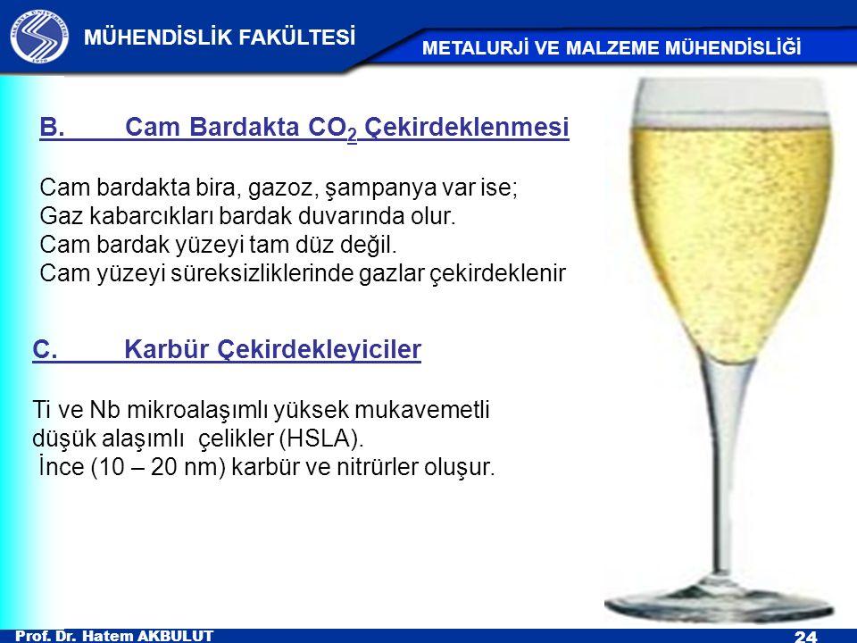 Prof. Dr. Hatem AKBULUT 24 MÜHENDİSLİK FAKÜLTESİ METALURJİ VE MALZEME MÜHENDİSLİĞİ B.Cam Bardakta CO 2 Çekirdeklenmesi Cam bardakta bira, gazoz, şampa