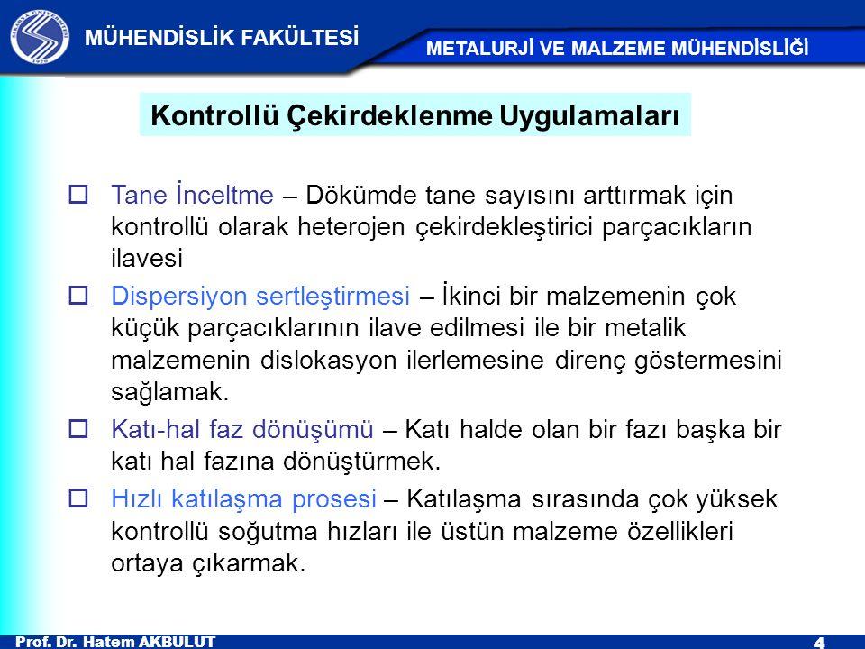 Prof. Dr. Hatem AKBULUT 4 MÜHENDİSLİK FAKÜLTESİ METALURJİ VE MALZEME MÜHENDİSLİĞİ  Tane İnceltme – Dökümde tane sayısını arttırmak için kontrollü ola