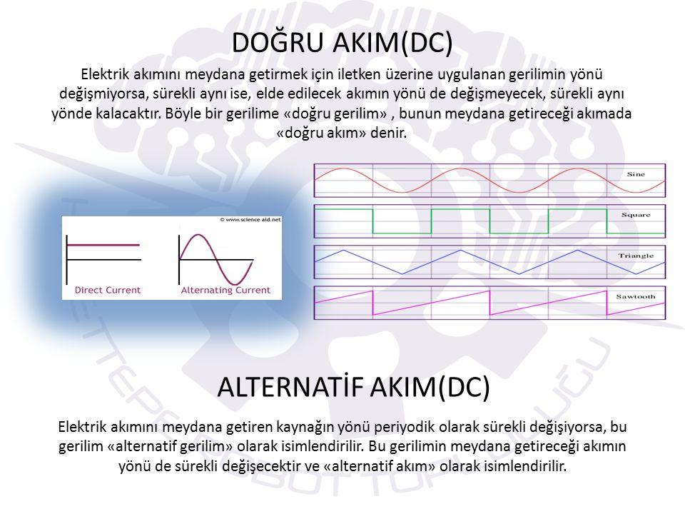 DOĞRU AKIM(DC) Elektrik akımını meydana getirmek için iletken üzerine uygulanan gerilimin yönü değişmiyorsa, sürekli aynı ise, elde edilecek akımın yönü de değişmeyecek, sürekli aynı yönde kalacaktır.