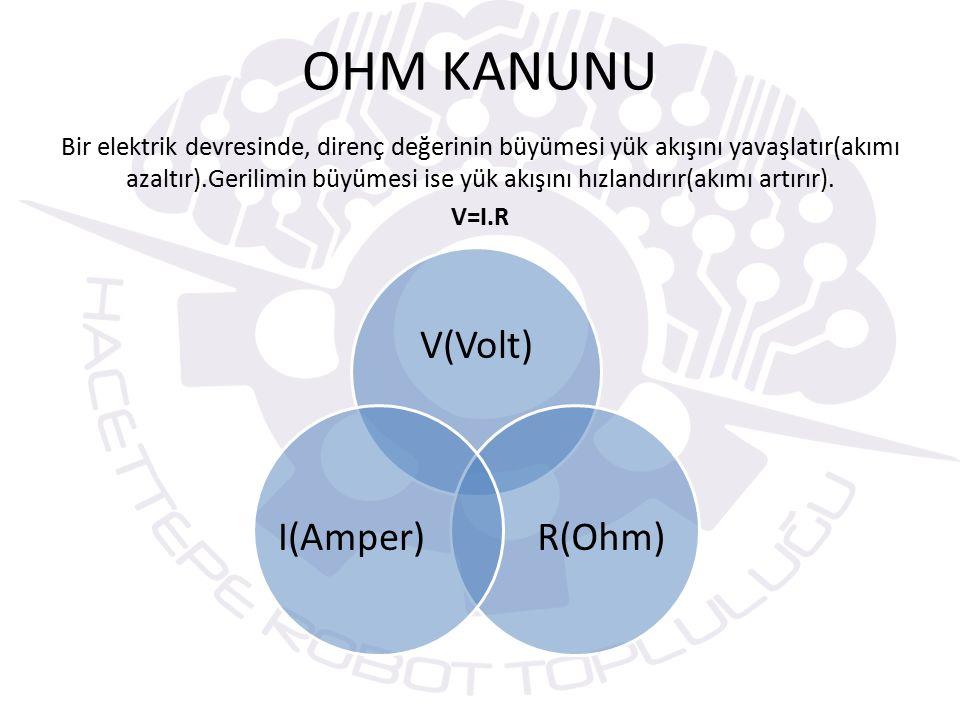 OHM KANUNU Bir elektrik devresinde, direnç değerinin büyümesi yük akışını yavaşlatır(akımı azaltır).Gerilimin büyümesi ise yük akışını hızlandırır(akımı artırır).