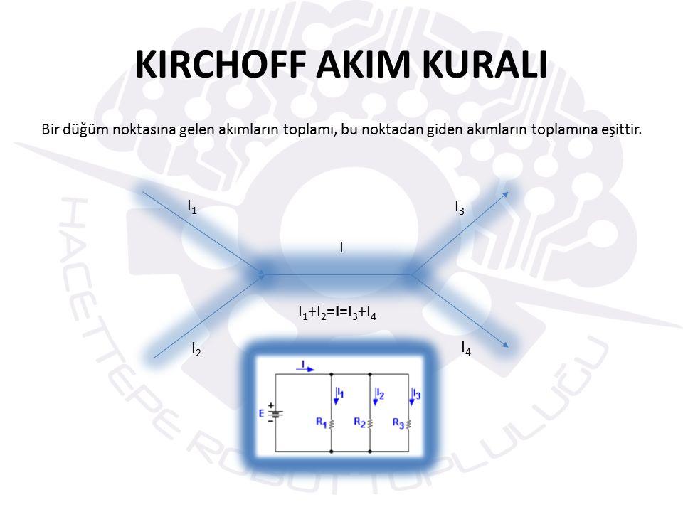KIRCHOFF AKIM KURALI Bir düğüm noktasına gelen akımların toplamı, bu noktadan giden akımların toplamına eşittir.