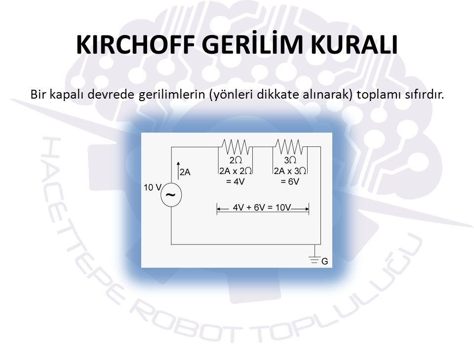 KIRCHOFF GERİLİM KURALI Bir kapalı devrede gerilimlerin (yönleri dikkate alınarak) toplamı sıfırdır.