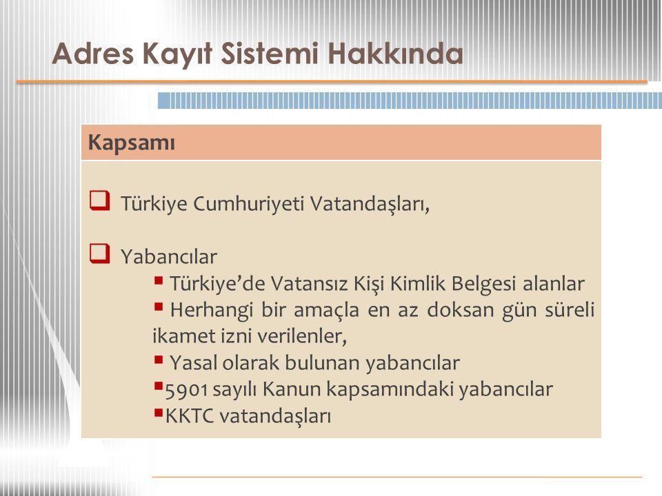 Adres Kayıt Sistemi Hakkında Kapsamı  Türkiye Cumhuriyeti Vatandaşları,  Yabancılar  Türkiye'de Vatansız Kişi Kimlik Belgesi alanlar  Herhangi bir