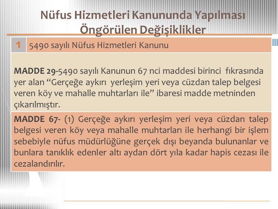Nüfus Hizmetleri Kanununda Yapılması Öngörülen Değişiklikler 1 5490 sayılı Nüfus Hizmetleri Kanunu MADDE 29-5490 sayılı Kanunun 67 nci maddesi birinci