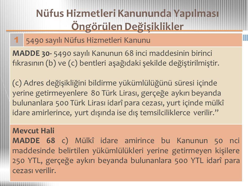 Nüfus Hizmetleri Kanununda Yapılması Öngörülen Değişiklikler 1 5490 sayılı Nüfus Hizmetleri Kanunu MADDE 30- 5490 sayılı Kanunun 68 inci maddesinin bi