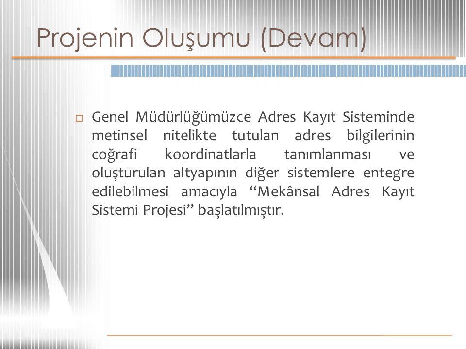 Projenin Oluşumu (Devam)  Genel Müdürlüğümüzce Adres Kayıt Sisteminde metinsel nitelikte tutulan adres bilgilerinin coğrafi koordinatlarla tanımlanma