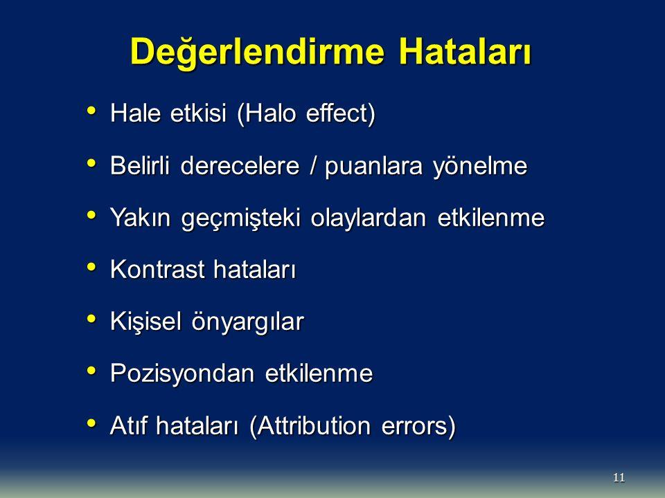 11 Değerlendirme Hataları Hale etkisi (Halo effect) Hale etkisi (Halo effect) Belirli derecelere / puanlara yönelme Belirli derecelere / puanlara yöne