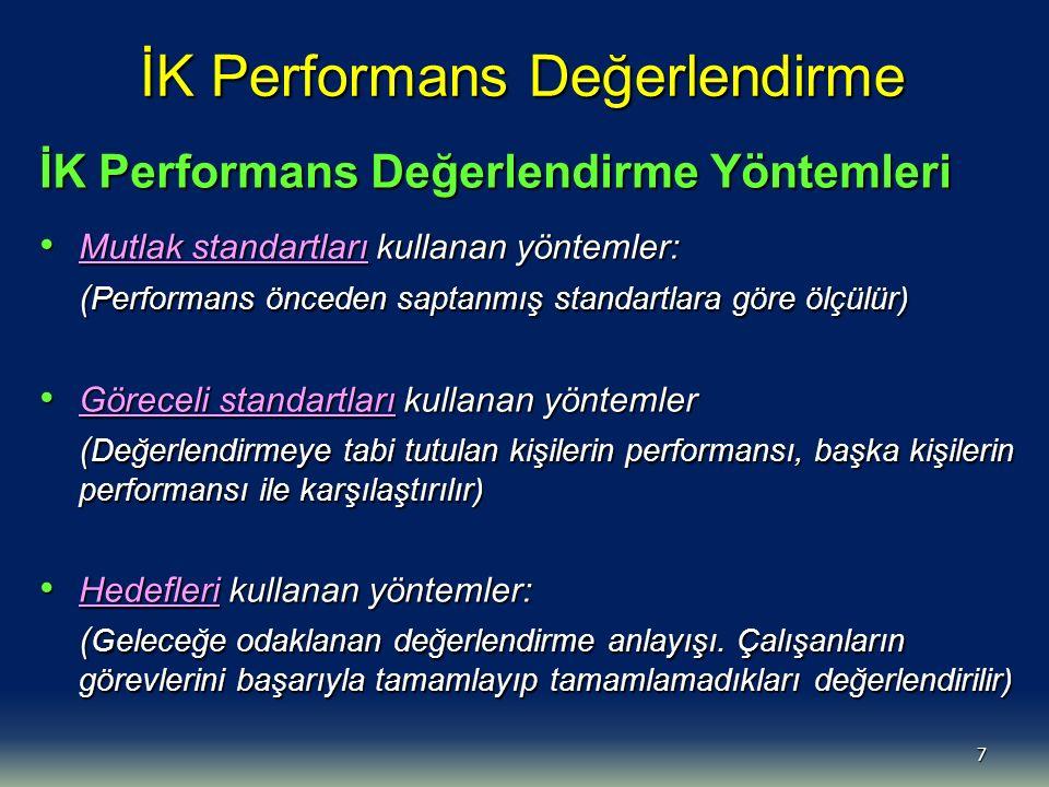 8 İK Performans Değerlendirmede Mutlak Standartları Kullanan Yöntemler Yorum / rapor yöntemi Yorum / rapor yöntemi İşaretleme / kontrol listesi yöntemi İşaretleme / kontrol listesi yöntemi Kritik olay yöntemi Kritik olay yöntemi Zorunlu seçenek yöntemi (evet / hayır) Zorunlu seçenek yöntemi (evet / hayır) Değerlendirme ölçeği yöntemi (1-5) Değerlendirme ölçeği yöntemi (1-5)