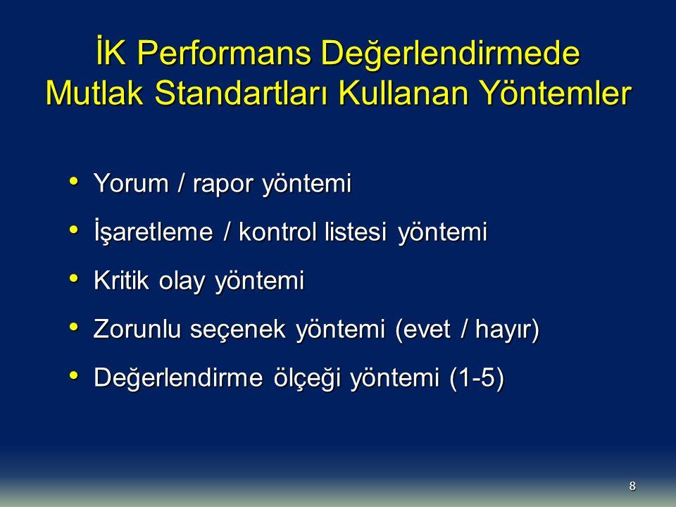 9 İK Performans Değerlendirmede Göreceli Standartları Kullanan Yöntemler Bireysel sıralama yöntemi Bireysel sıralama yöntemi (100 puan üzerinden sıralama) İkili karşılaştırma yöntemi İkili karşılaştırma yöntemi (Kişileri birbiri ile karşılaştırma) Grup sıralama yöntemi Grup sıralama yöntemi (Zorunlu dağılım)