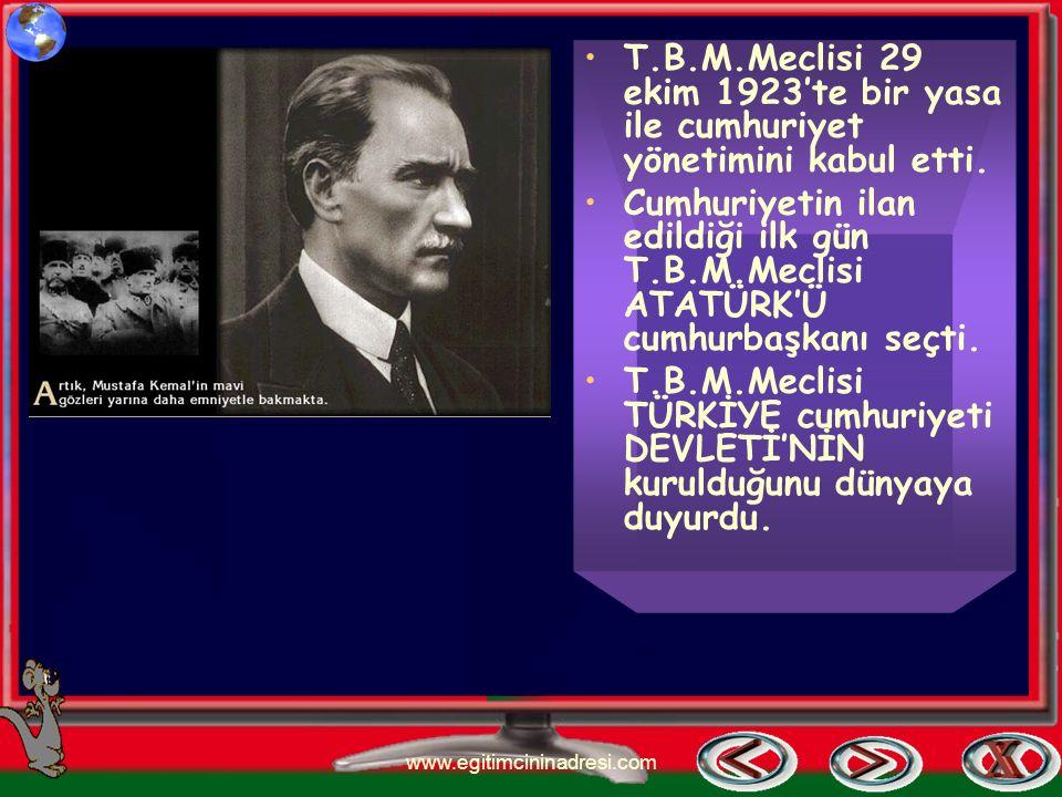 Cumhuriyetin İlânı Kurtuluş savaşını kazandıktan sonra devletimizin yönetim şeklinin belirlenmesi gerekiyordu. Mustafa kemal ATÜRK halkı için en iyi y