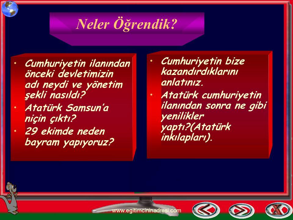 Atatürk İnkılapları Soyadı kanunu kabul edildi. Ölçü ve tartılarda değişiklik yapıldı. Takvim ve saatte değişiklik yapıldı. www.egitimcininadresi.com