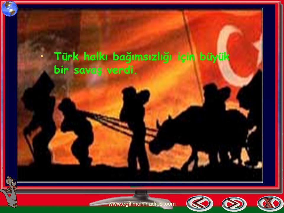 Atatürk 19 mayıs 1919'da SAMSUN'A çıkarak kurtuluş savaşını başlattı. www.egitimcininadresi.com